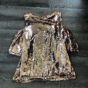f8a61c1e76bd37 INC International Concepts Tops - Rose Gold Cold Shoulder Sequin Top